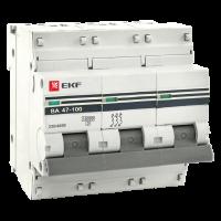 Автоматический выключатель 3P 125А (D) 10kA ВА 47-100 EKF PROxima