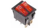 Выключатель клавишный 2-ой 250V 15А (6с) ON-OFF красный с подсв.
