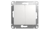 Механизм выключателя 2-клавишного Белый Glossa