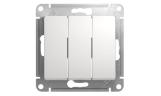 Механизм выключателя 3-клавишного Белый Glossa