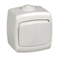 Выключатель 2-клавиши накладной IP44 белый Рондо