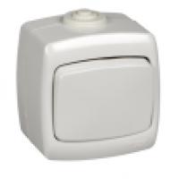 Переключатель 1-клавиша накладной IP44 белый Рондо