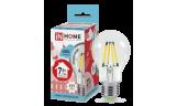 Лампа LED-A60-deco 7Вт Е27 4000К 630Лм прозрачная InHome